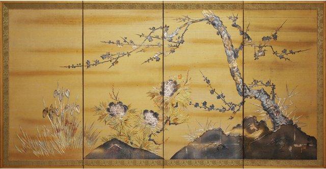 Japanese Byobu Silk & Lacquer Screen