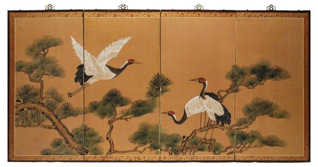 Japanese  Byobu Silk Screen