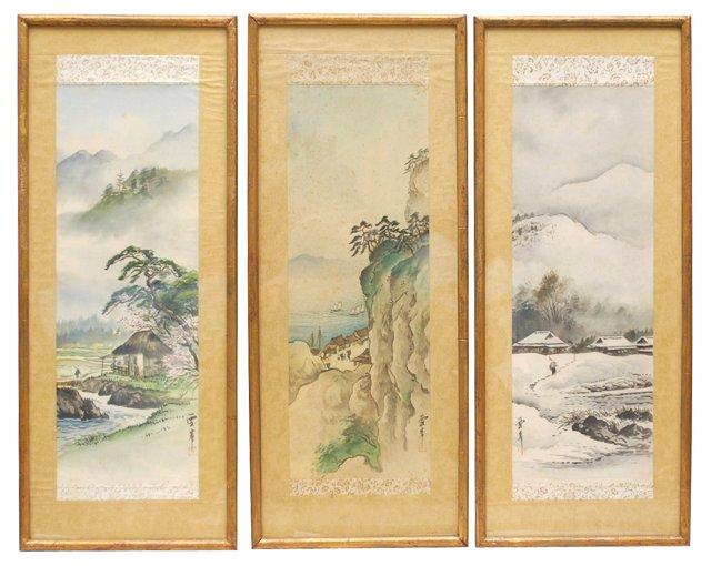19th-C. Japanese Watercolors, S/3