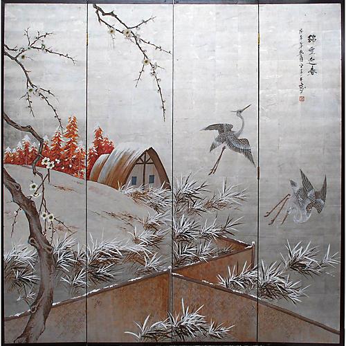 Japanese Byobu Screen, C. 1930