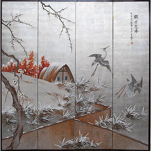 Japanese Byobu Screen, C. 1930