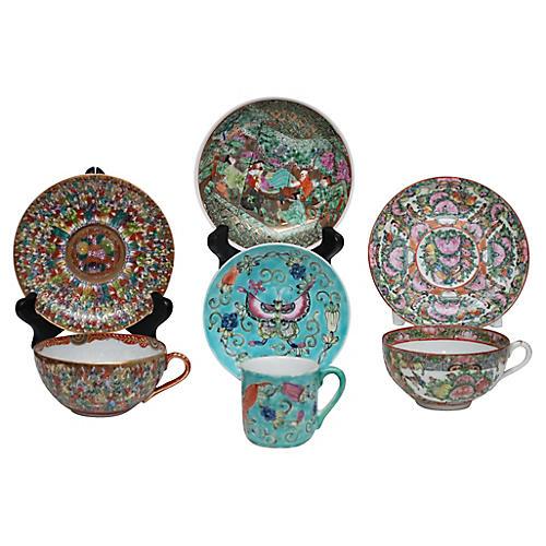 Antique Cups & Saucers, 7 Pcs