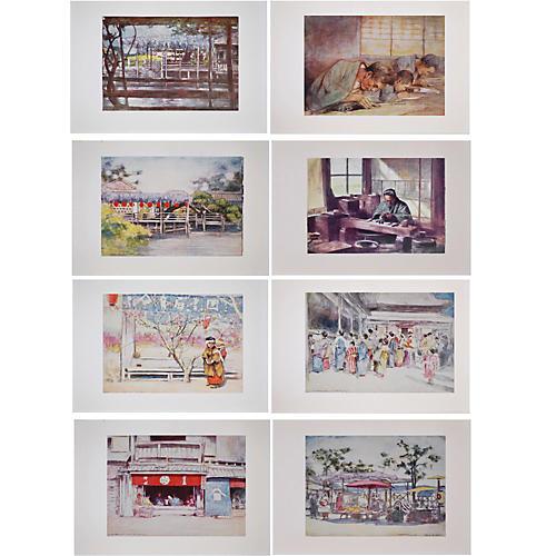8 antique prints of Japan by M. Menpes