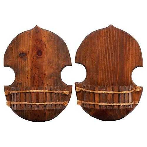 Pair Asian-Style Wood Brackets, C. 1960