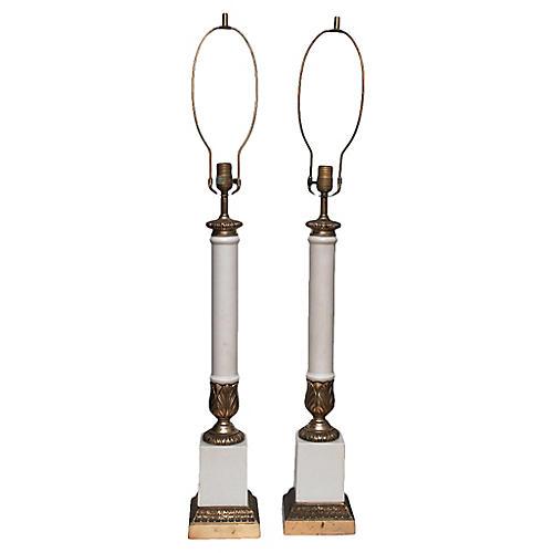 C.1950s Tall Neoclassical Lamps, Pair