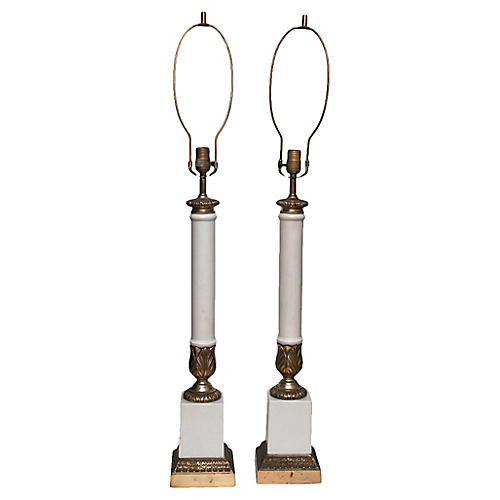 C.1950s Tall Neoclassical Lamps, Pair