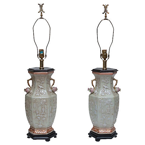 Maitland Smith Chinoiserie Lamps, Pair