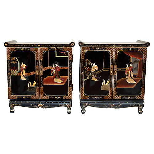 C. 1940 Coromandel Cabinets, Pair