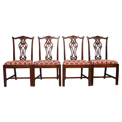 Vintage Chippendale Dining Chairs, s/4