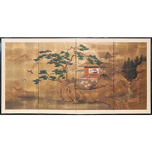 1920s Japanese River Scene Byobu