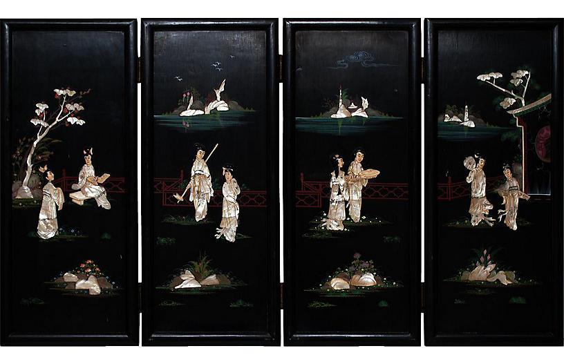 Late 19th c. Chinese Coromandel Screen