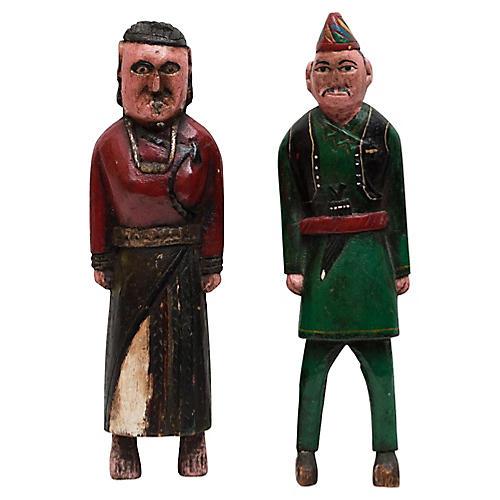 Antique Folk Art Figures, S/2