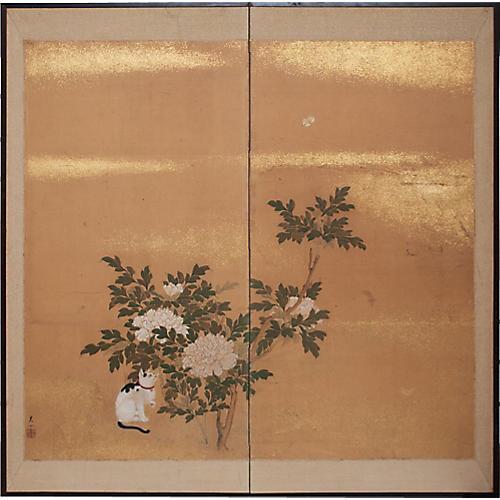 Japanese Byobu Screen, C. 1880
