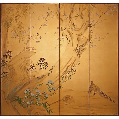 2-Sided Japanese Byobu Screen, C.1960