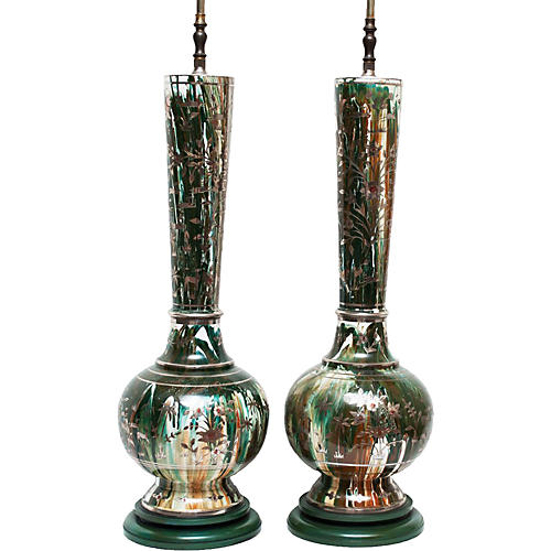 1950s Indo-Persian Lamps, S/2