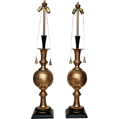 Tall Indo-Persian Lamps, C.1950