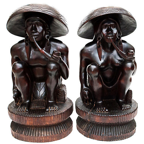 Rare Large Antique Ebony Wood Statues