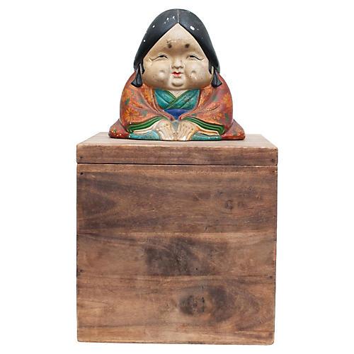 Meiji Era Otafuku Figurine on Wood