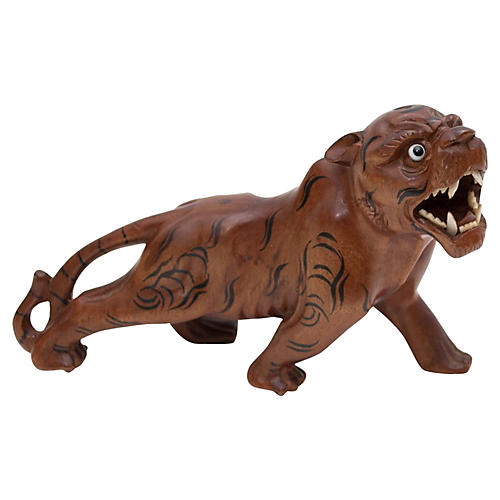 1960s Hand-Carved Rosewood Tiger