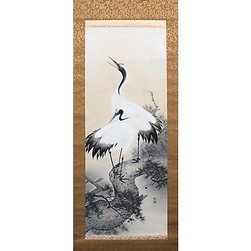 Japanese Silk Scroll Cranes Painting