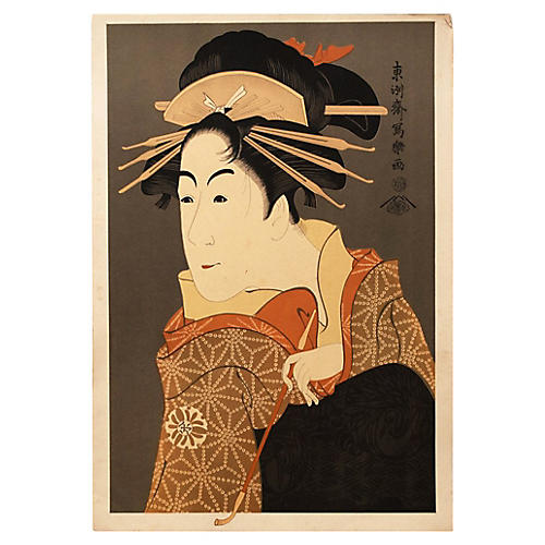 19th-C. Kabuki Actor Print by Sharaku