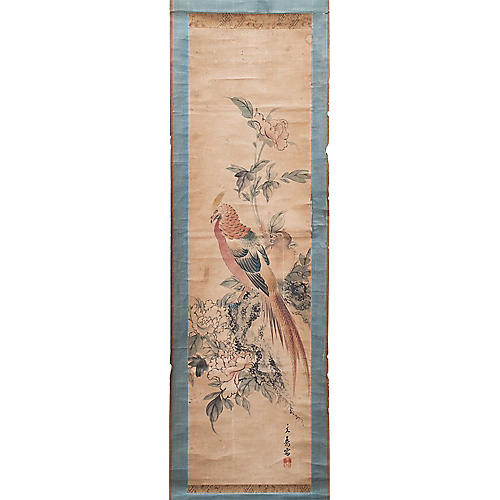 18th-C. Japanese Phoenix Scroll Painting