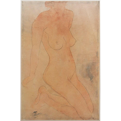 Auguste Rodin Nude Lithograph, 1959