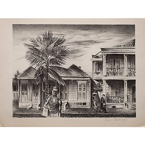 New Orleans by Bohrod Lithograph, 1939