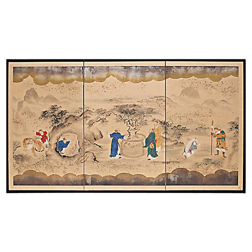 Meiji Era Japanese Byobu Screen