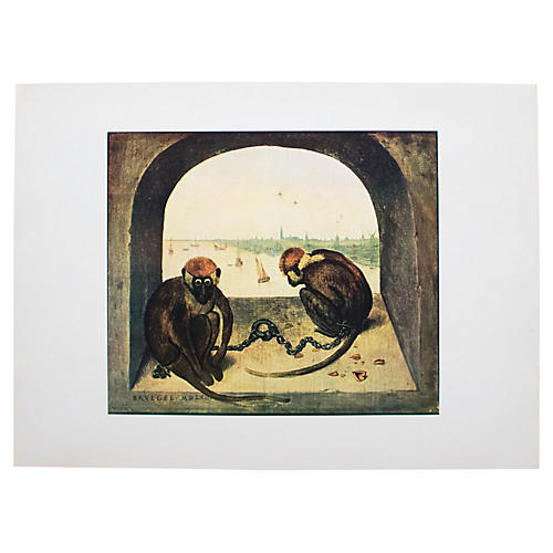 1950s Bruegel, Two Monkeys Lithograph