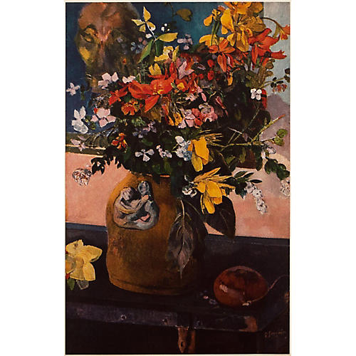 1950s Gauguin Still Life w/ Flowers