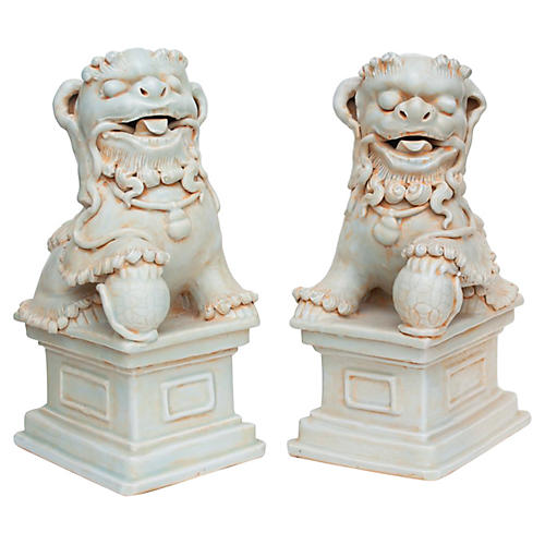 20th c. Large Chinese Celadon Foo Lions