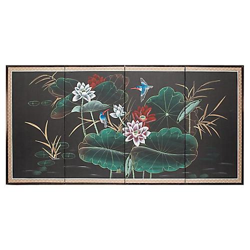 C. 1940s Japanese Silk Byobu Screen
