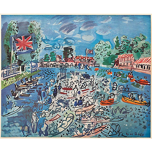 1940s R. Dufy, Regatta at Cow-on-Thames