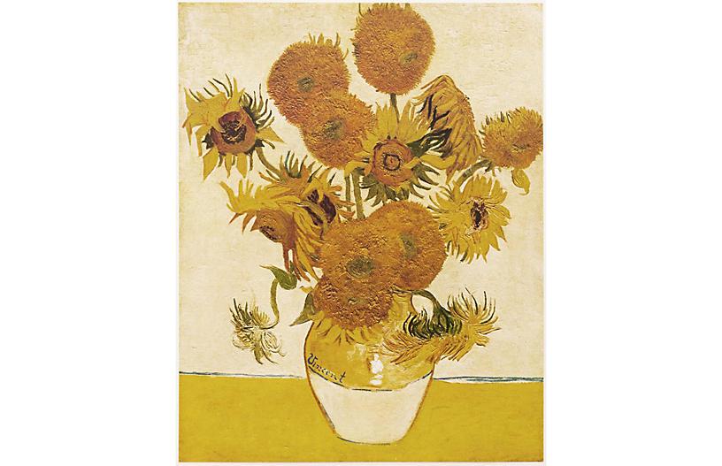Mira Parker Design Antiques 1950s Vincent Van Gogh Sunflowers One Kings Lane