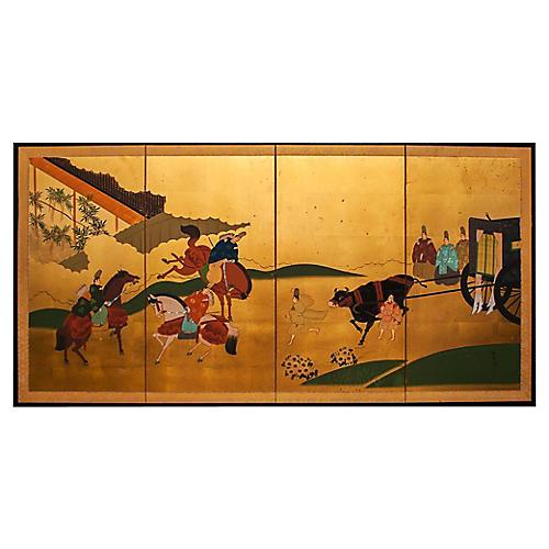 Tale of Genji Gold Leaf Byobu Screen