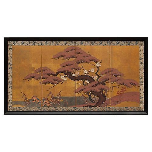 Meiji-Era Framed Japanese Screen