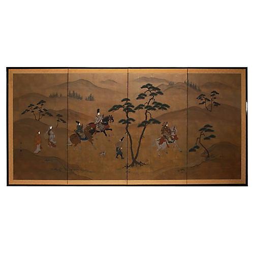 Takagari of Prince Genji Byobu Screen