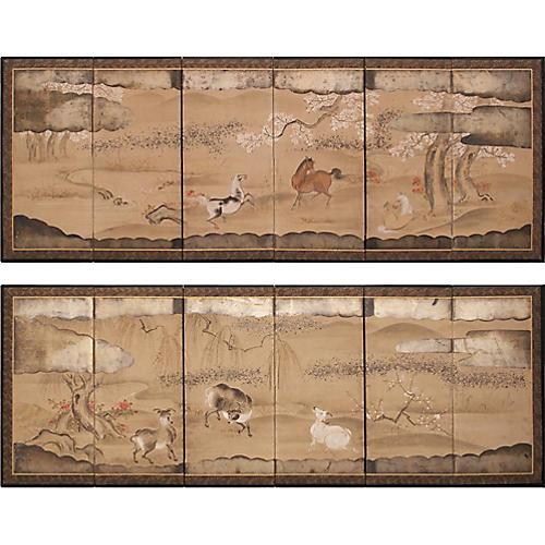 Edo Era Japanese Byobu Screens, Pair
