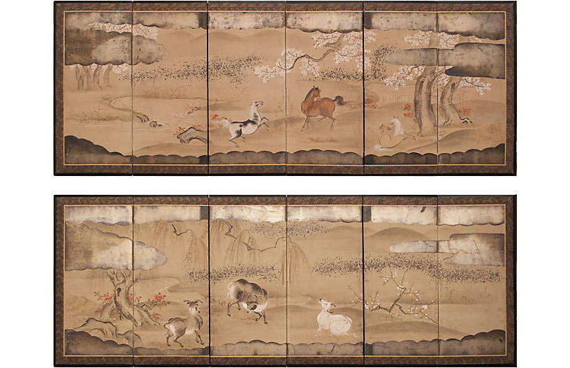 Edo Era Japanese Byobu Screens, Pair