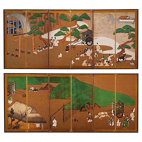 Miniature Prince Genji Screens, Pair