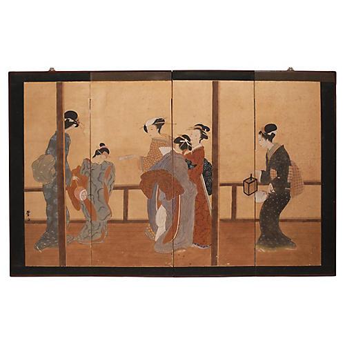 Ukiyo-E Style Late Meiji Japanese Screen