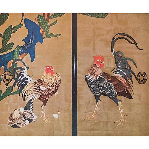 """Ito Jakuchu, """"Cocks and Cactus"""""""