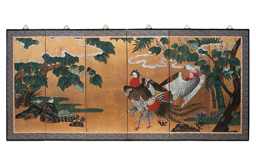 6-Panel Japanese Byobu Screen