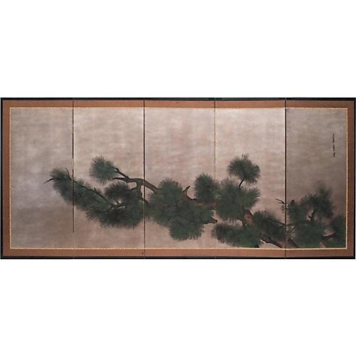 C.1940s Japanese 5-Panel Byobu Screen