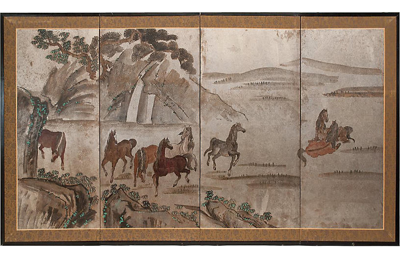 Chinese Silver Leaf Landscape With Horse