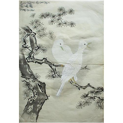 Meiji Era Large Japanese Watercolor