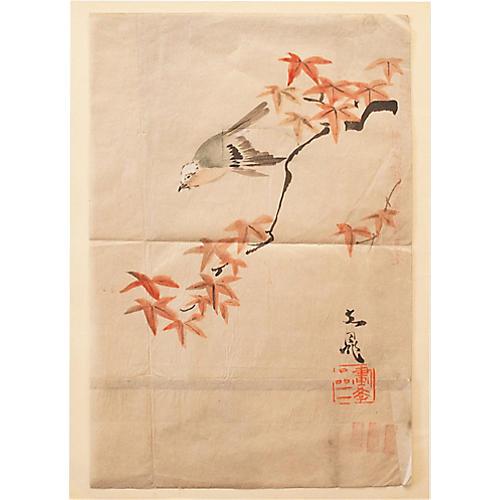 Meiji-Era Bird & Maple Watercolor