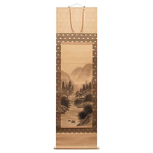 1960s Japanese Landscape Scroll Painting