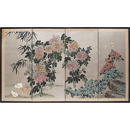 1920s Chinese Silver Leaf Flower Screen